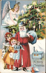 Santa Claus Giving Toys to Children, Angel