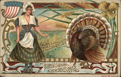 Thanksgiving Greetings - A Women and a Turkey