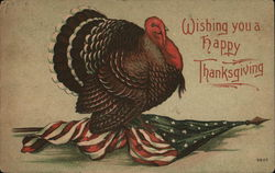"""Wishing You A Happy Thanksgiving"" - Turkey Walking On Flag"
