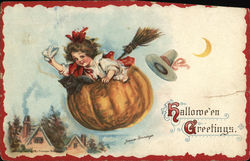 Girl Flying in Pumpkin, Halloween Greetings Postcard