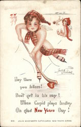 Cupids Playing Ice Hockey - Julia Woodworth Cupid Card
