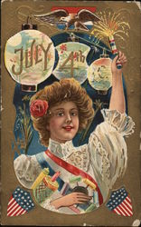 July 4TH - Woman Holding Firecrackers
