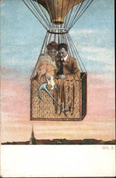 Man and Woman Waving From Hot Air Balloon