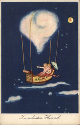 Two Children Sailing Through the Night Sky in a Bed