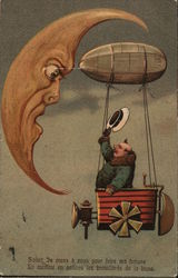 Man in Flying Machine Greeting The Moon