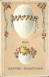 Easter Greetings - Chick in Eggshell Basket, Egg Hot Air Balloon