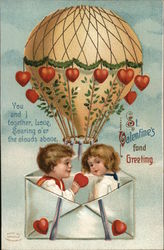 St. Valentine's Fond Greeting - Balloon with Hearts Holding Children in Envelope