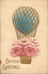 Birthday Greetings - Pink Flowers in Hot-Air Balloon Basket