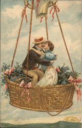 Man and Woman Kissing in a Hot Air Balloon