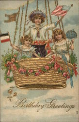 Children Holding Flags and Flowers