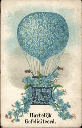 Hartelijk Gefeliciteerd - Balloon and Basket Covered in Blue Flowers