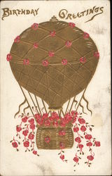 Golden Hot Air Balloon with Flowers, Birthday Greetings