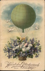 Hot Air Balloon with Birds and Flowers, German Language
