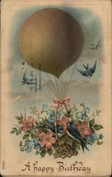 Hot Air Balloon with Swallows and Flowers