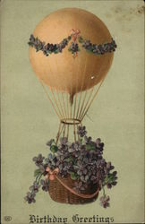 Hot Air Balloon with Flowers, Birthday Greetings