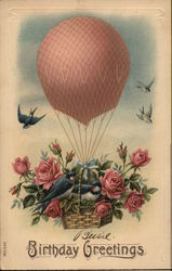 Hot Air Balloon with Birds and Flowers