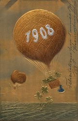 "Hot-Air Balloon Reading ""1908"" Embossed"