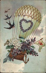 Birds and Hot-Air Balloon with Heart and Basket of Flowers
