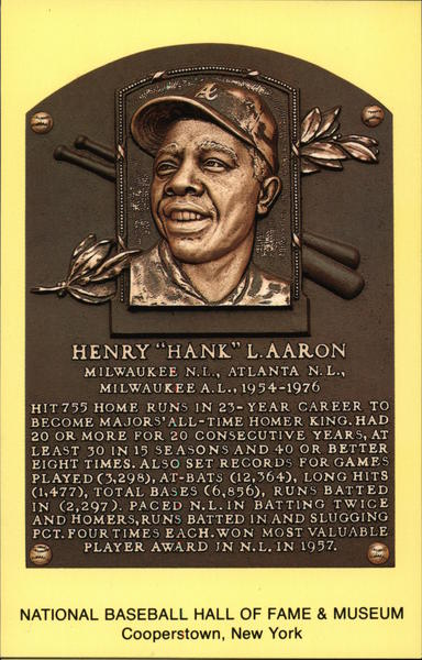 Henry Hank L. Aaron Plaque Cooperstown New York