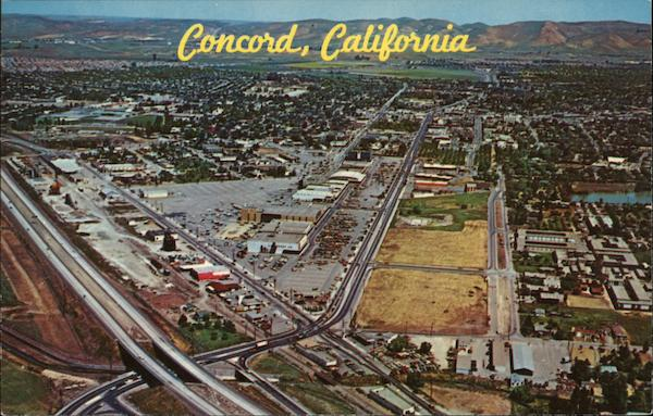 Aerial view of One of the Entrances from the Freeway Conconrd California