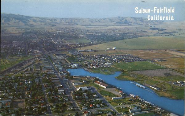 Aerial view of Suisun and Fairfield California