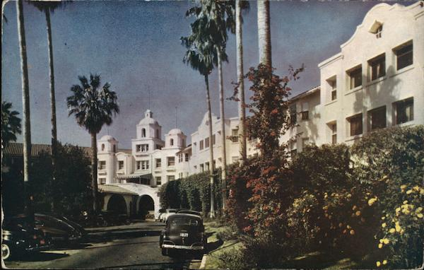 Palm-lined Drive of the Beautiful Beverly Hills Hotel California
