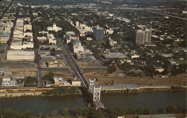Aerial View of Tower Bridge and Downtown Sacramento California