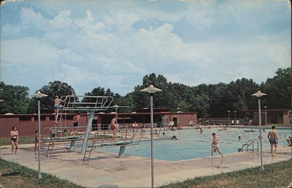 Public pool paris landing state park postcard for Paris public pool