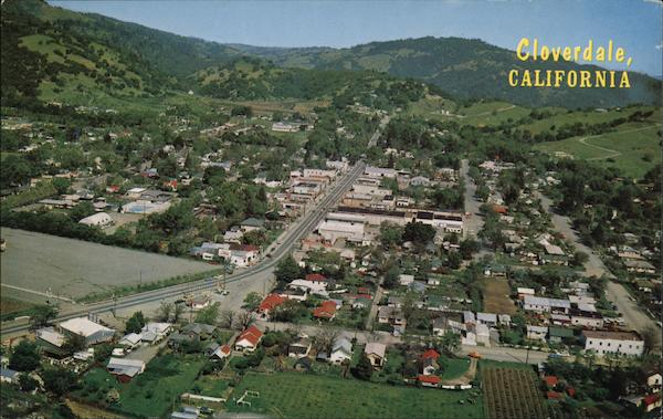 Mission Hills Ca >> Aerial View of Town and Hills Cloverdale, CA Postcard