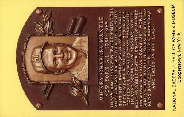 Plaque of Mickey Mantle - National Baseball Hall of Fame and Museum Cooperstown New York