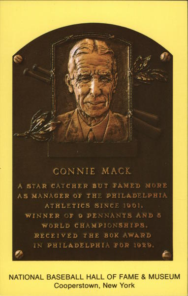 Plaque of Connie Mack - National Baseball Hall of Fame and Museum Cooperstown New York