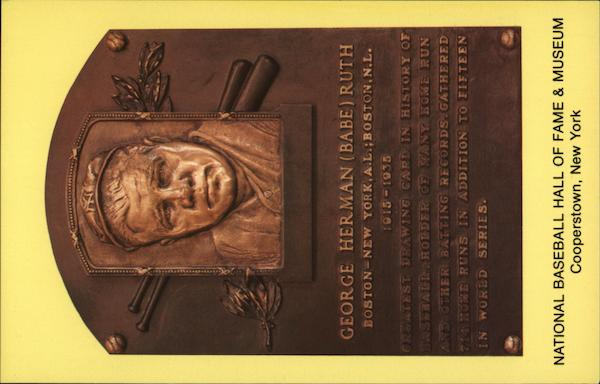 Plaque of George Herman Babe Ruth, National Baseball Hall of Fame and Museum Cooperstown New York