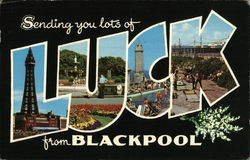 Sending You Lots of Luck From Blackpool Postcard