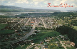Aerial View of Fortuna, Located in the Heart of Redwood Lumber Country