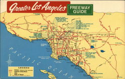 Greater Los Angeles Freeway Guide Postcard