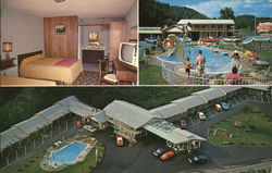 Bedroom, Pool Area & Aerial View of Virgil's Motel