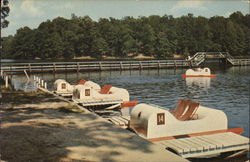 Boat Dock Showing Paddle Boats and Bridge in the Background