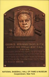 "Plaque of George Herman ""Babe"" Ruth, National Baseball Hall of Fame and Museum Postcard"