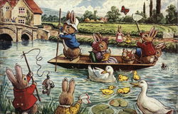 Rabbits Boating on a River
