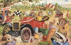 Illustration of Animals Celebrating Auto Race Finish