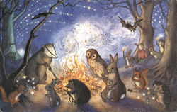 Animals Gathered Around Bonfire at Night