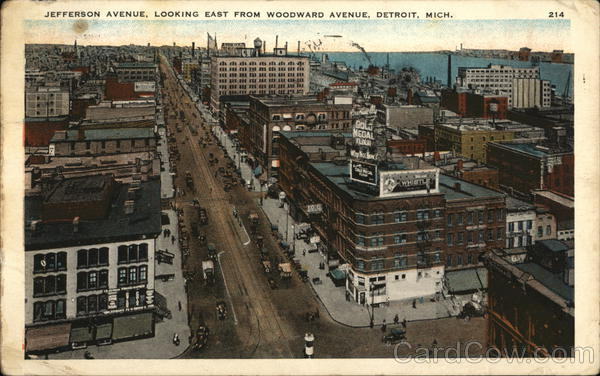 Jefferson Avenue Looking East From Woodward Avenue Detroit Michigan