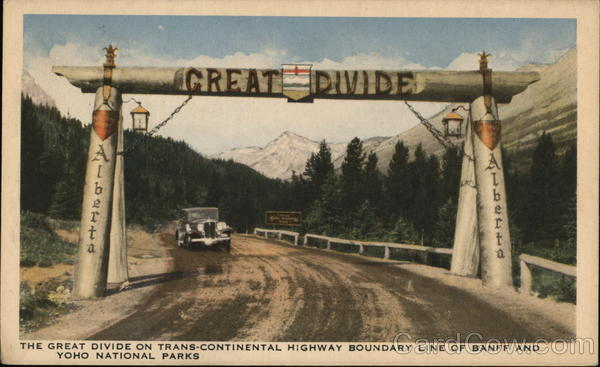 The Great Divide on Trans-Continental Highway Boundary Line of Banff and Yoho National Parks Canada