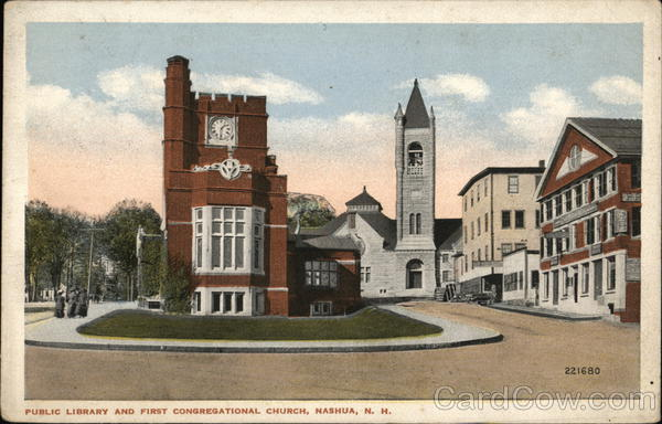 Public Library and First Congregational Church Nashua New Hampshire