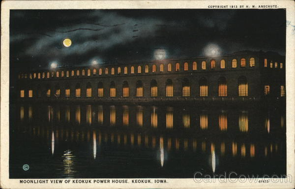 Moonlight View of keokuk Power House Iowa