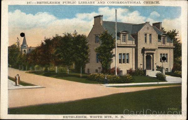 Public Library and Congregational Church, White Mts. Bethlehem New Hampshire