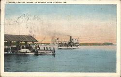 Steamer Leaving Wharf at Sebago Lake Station