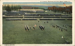 US Naval Training Station - Passing Review Postcard