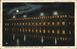 Moonlight View of keokuk Power House Postcard