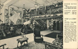 View Of Lobby of Hotel Tulare Postcard